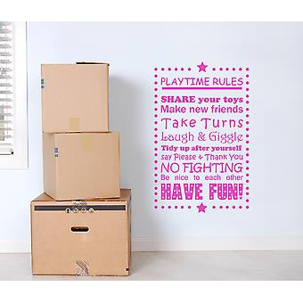 Playtime Rules Kids Wall Sticker