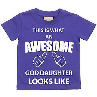これは何の素晴らしい神の娘に見えるような紫 t シャツです。