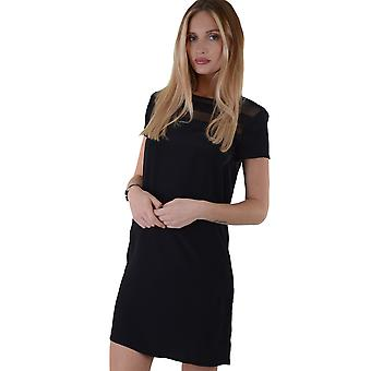 Lovemystyle Black Shift Dress With Mesh Shoulder And Chest Detail