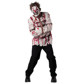 Mens Circus Sinner Clown Straitjacket Halloween Fancy Dress Costume
