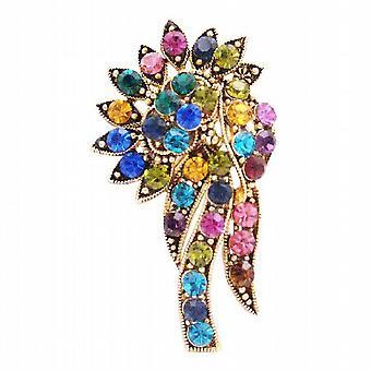 Multicolor Kristalle Brosche Antik Gold Bouquet Jahrgang trendige
