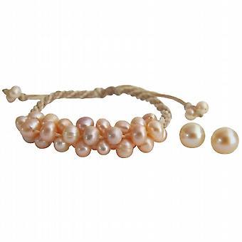 Персик пресноводных жемчужный браслет Стад серьги комплект ювелирных изделий Аксессуары