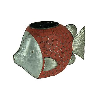Rustic Red Metal Fish Shaped Planter or Vase
