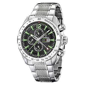 Festina | Mens Chronograph & Dual Time | Black/Green Dial | F20439/6 Watch