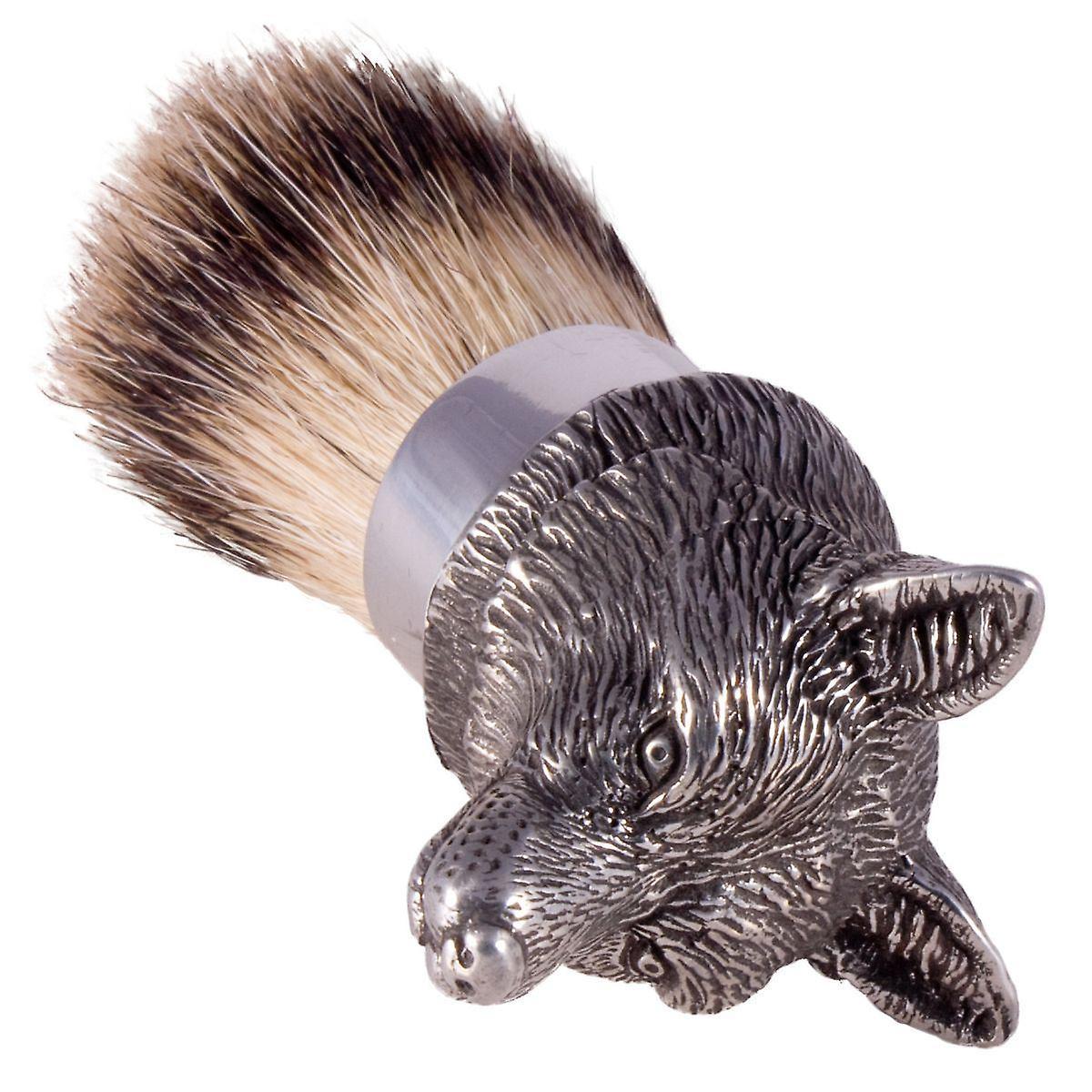 The English Pewter Co Silvertip Badger Hair Shaving Brush-Fox