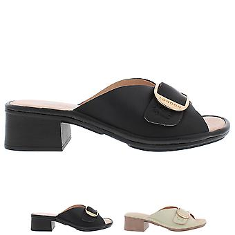 Womens Fly London Elax Mousse Leather Open Toe Buckle Block Heel Sandals