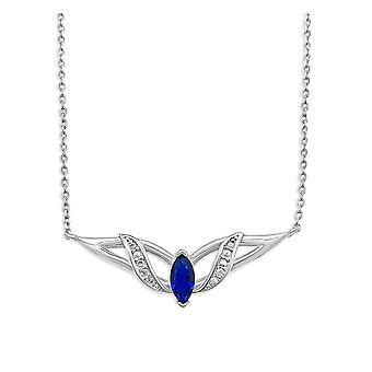 Ah! Biżuteria srebro naszyjnik z owalne Sappire