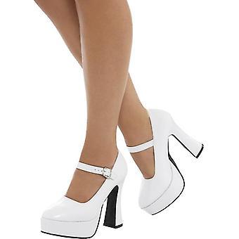 lat 70-tych pań biały circa lakier plateau buty rozmiar 37 UK rozmiar 4 / U.S. 7