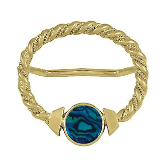 Eternal Collection Maxi Blue Paua Shell Large Gold Scarf Ring