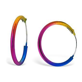 1.5cm Rainbow Coloured Hoop Earrings
