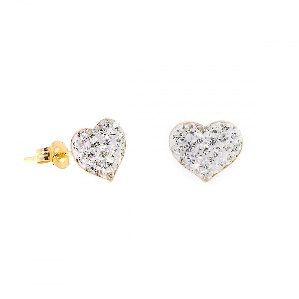 Eternity 9ct Gold Crystal Heart Stud Earrings