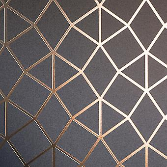 Geometric Trellis Rose Gold Metallic Foil Fond d'écran Shimmer Fine Decor Platinum