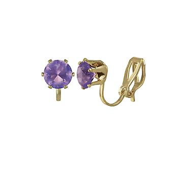Eternal Collection Tara Amethyst Crystal Gold Tone Stud Clip On Earrings