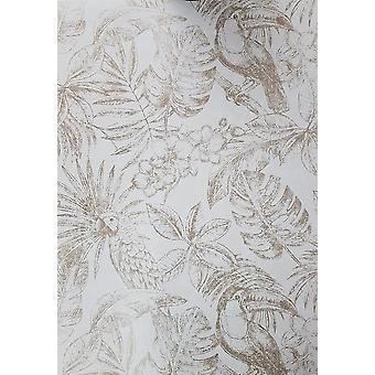 Muriva Sankuru Metalizado Tropical Wallpaper Birds Floral Leaf Light Grey Gold