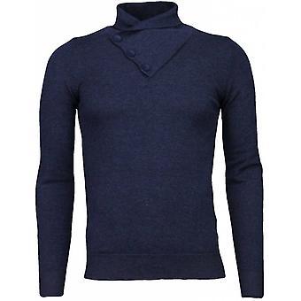 Casual sweater-colcollar Basic Design-Blue