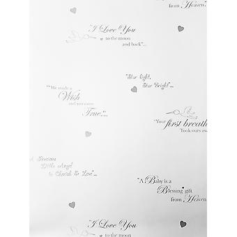 Plain White Typography Metallic Silver Wallpaper Quotes Children's Room Nursery