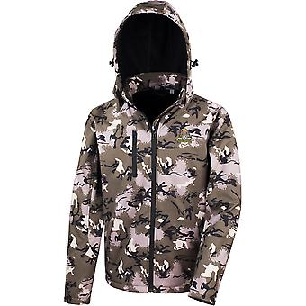 16ème 5ème The Queens Royal Lancers Colour - Licensed British Army Embroidered Performance Hooded Camo Softshell Jacket