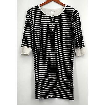 Holly Robinson Peete Top 3/4 Sleeve Striped Rib Knit Henley Black A426707
