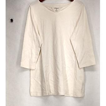 Liz Claiborne York Top XXS Essential Stretch Split Neck Tunic Ivory A272894