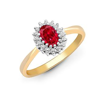 Jewelco London 9ct Yellow Gold Cluster Set H I2 0.12ct Diamond and Oval Red 0.6ct Ruby Classic Royal Cluster Ring 9mm