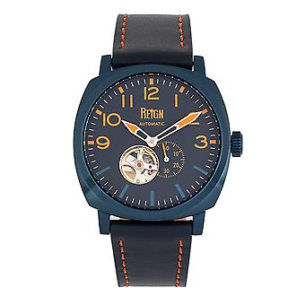 Reign Napoleon Automatic Semi-Skeleton Leather-Band Watch - Navy