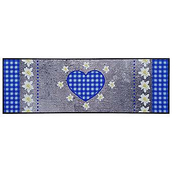 Carpet Boss Kitchen Runner Edelweiss Heart Grey/Blue Washable Non-slip 50x150 cm