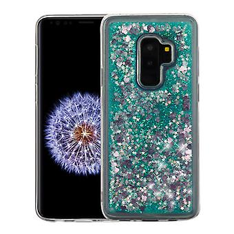 Hearts & Green Quicksand Glitter Hybrid Case for Galaxy S9 Plus