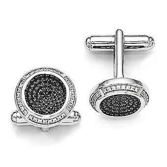 925 Sterling Silver Pave Black Rhodium plated and CZ Cubic Zirconia Simulated Diamond Brilliant Embers Cuff Links Jewelr