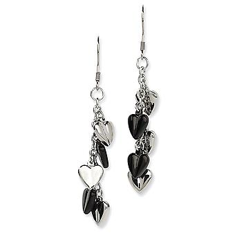 Stainless Steel Shepherd hook Black IP Plating and Polished Love Hearts Long Drop Dangle Earrings Jewelry Gifts for Wome