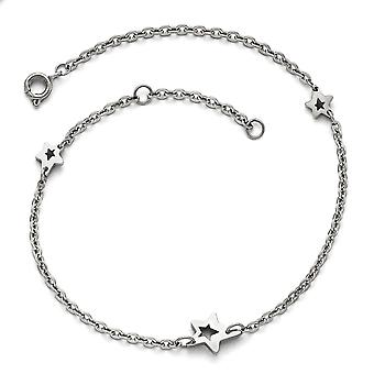 Roestvrij staal gepolijste sterren met 1inch uitbreiding enkelband 9 inch sieraden geschenken voor vrouwen