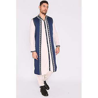 Jabador achraf hombres's longline thobe chaleco sin mangas y pantalones bordados co-ord en azul