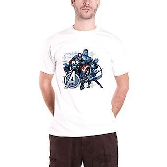 Avengers T shirt Marvel Comics assembleren groep blauwe tint officiële mens nieuwe wit
