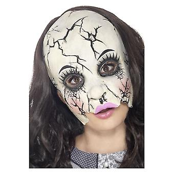 Womens Damaged Doll Mask Halloween Fancy Dress Accessory