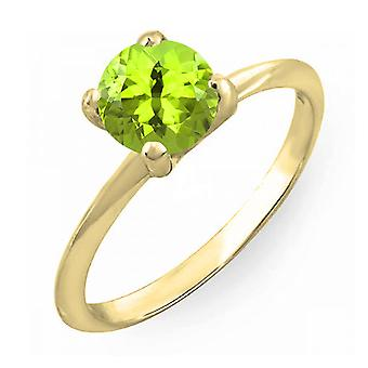 Dazzlingrock Collection 14K 6mm Round Cut Peridot Solitaire Bridal Engagement Ring, Yellow Gold