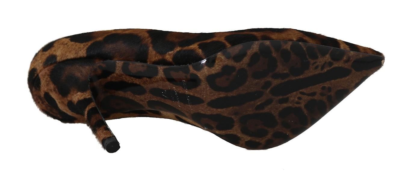 Brown Leopard Leather Pony Hair Pumps
