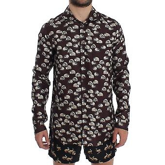 Purple Hedgehog Silk Pajama Shirt Sleepwear