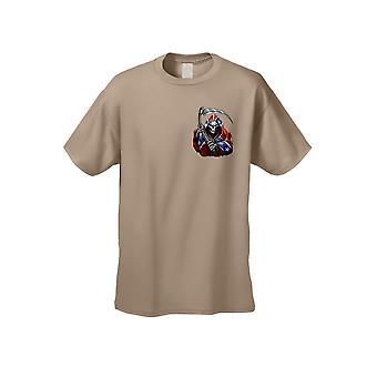 Men's T Shirt Confederate Rebel Flag Grim Reaper Tee Pocket Graphic