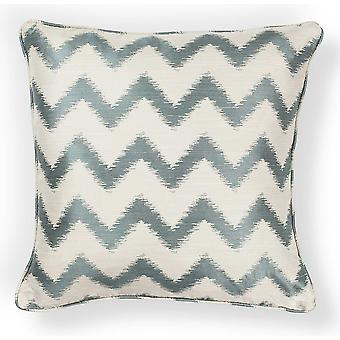 Elegant Square Ivory and Light Blue Chevron Accent Pillow
