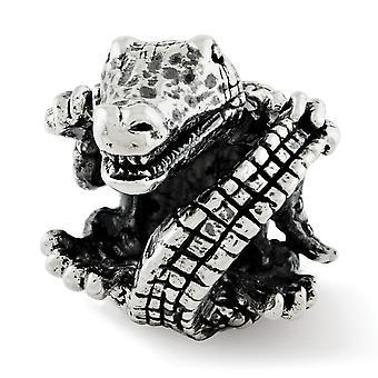 925 Sterling Silver Polerad finish Reflektioner Alligator Pärla Charm Hängande Halsband Smycken Gåvor för kvinnor