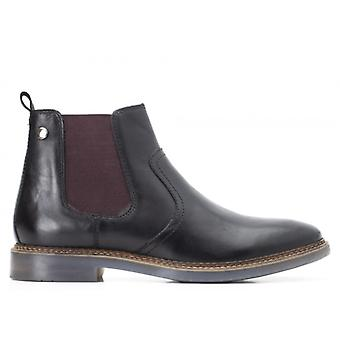 Base London Piper Waxy Mens Leather Chelsea Boots Black