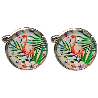 Bassin and Brown Flamingo Cufflinks - Pink/Green/White