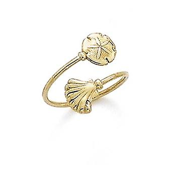 14k Yellow Gold Bypass Shell Sanddollar Toe Ring Jewelry Gifts for Women - .9 Grams