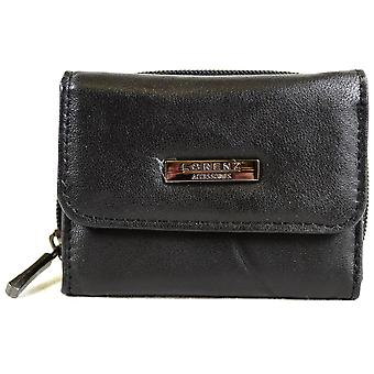 Panie poręczne Super miękkie Nappa skóra Tri-Fold portmonetka z Zip okrągłe kieszeni