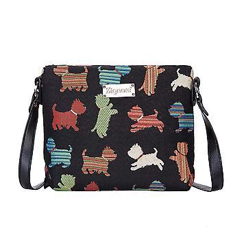 Figlarny szczeniak ramię Cross Body Bag przez signare gobelin/xb02-Puppy