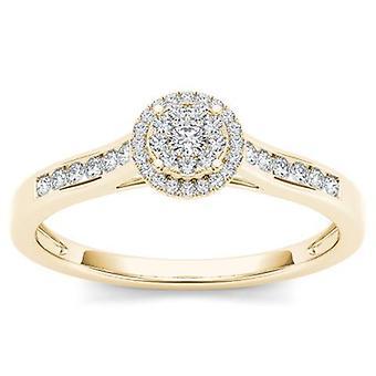 Igi certified 10k solid yellow gold 0.25 ct diamond halo engagement ring