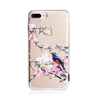 طباعة الطيور الأزهار واضحة اي فون 8 زائد / 7 بالإضافة إلى حالة