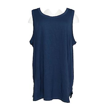 AnyBody Women's Plus Top Cozy Knit Ribbed Mixed Tank Blue A374213