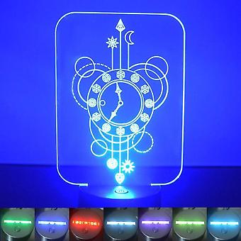 Clock Decorative Rectangle Colour Changing LED Acrylic Light