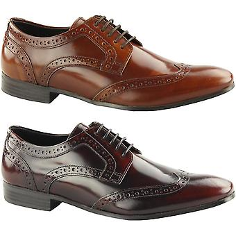 Ikon Mens Nolan Hi Shine Leather Lace Up Formal Smart Derby Brogues Shoes