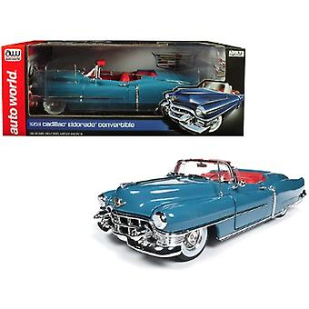 1953 Cadillac Eldorado Convertible Tunis Blue Limited Edition to 1,002 pieces Worldwide 1/18 Diecast Model Car by Autoworld